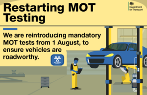 MOT 6 month exemption ends on 1st August 2020
